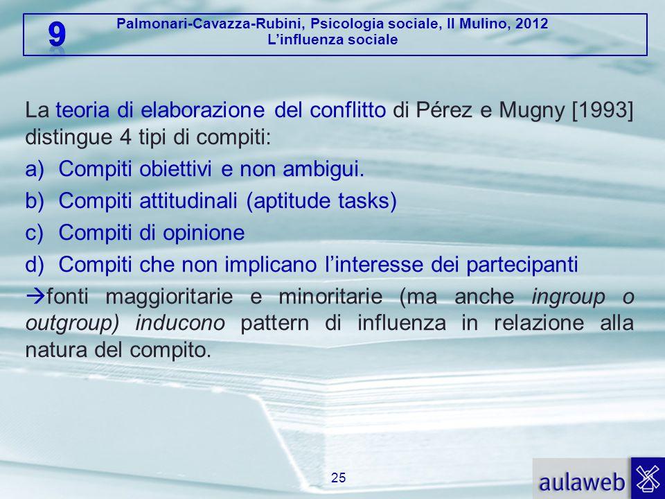 La teoria di elaborazione del conflitto di Pérez e Mugny [1993] distingue 4 tipi di compiti: